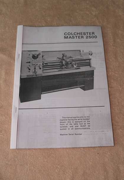 Colchester Master 2500 Lathe Manual