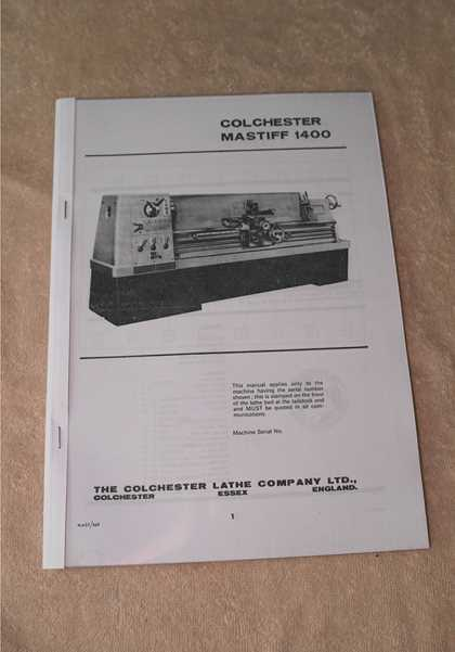 colchester mastiff 1400 lathe manual machine manuals rh machinemanuals co uk Colchester Lathe Parts Clausing Colchester Lathe Parts List