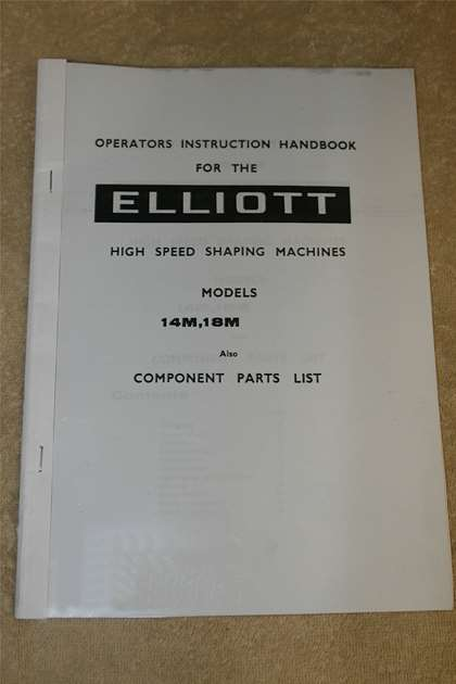 Elliott 14m  U0026 18m Operating  U0026 Manual With Parts List